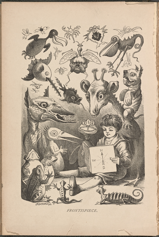 Frontispiece book image of boy reading and imaginary creatures looking on